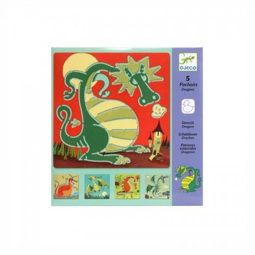 5 Pochoirs : dragons