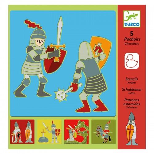 5 Pochoirs : chevaliers
