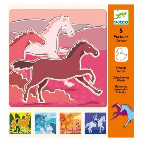 5 Pochoirs : chevaux