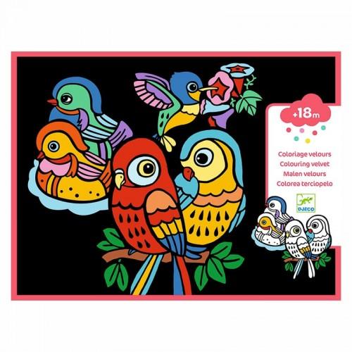 Coloriage velours : bébés oiseaux