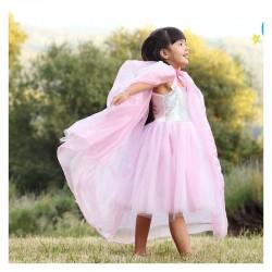 Cape de princesse royale rose/argent -5/7 ans