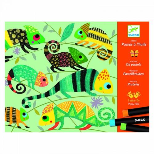 Pastels à l'huile : Jungle colorée