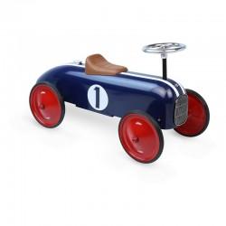 Porteur voiture de course bleue vintage