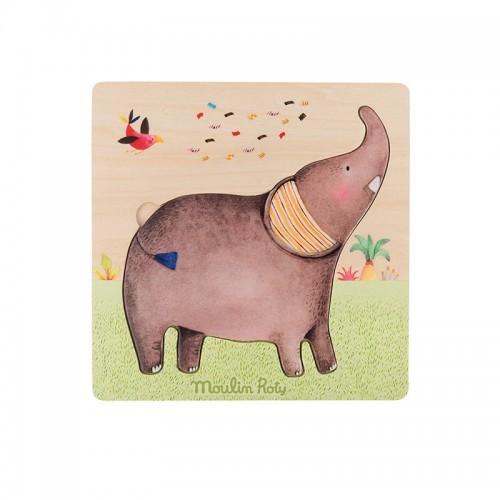 Puzzle encastrable éléphants (Les Papoum)