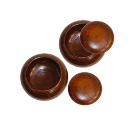 Bols bois vides pour pierres de go (x2)