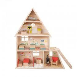 Maison de poupée avec mobilier
