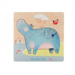 Puzzle encastrable hippopotames